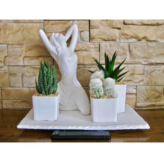 Donna scultura 3 piante