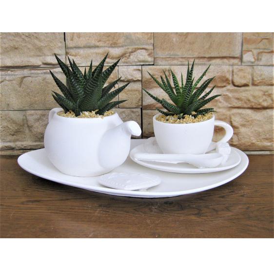 vassoio teiera grande e tazza tè
