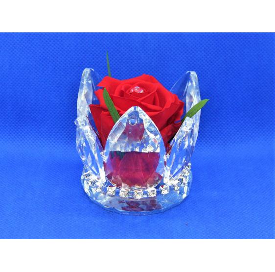 Corona grande cristallo e rosa
